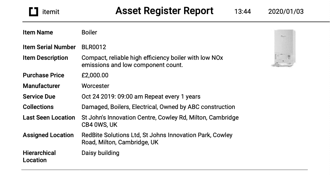 Fixed Asset Register Report